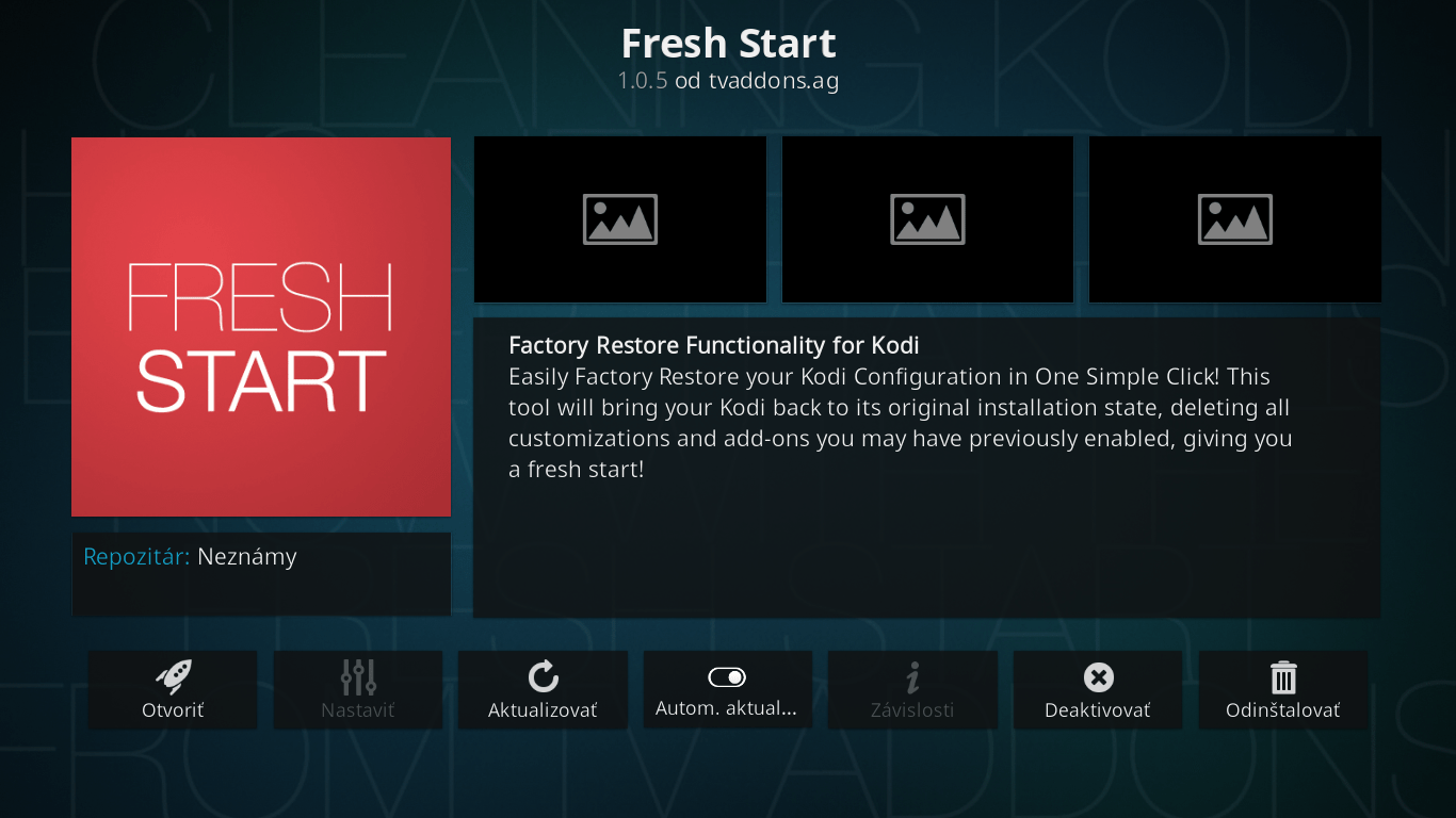 Fresh Start - Reset KODI