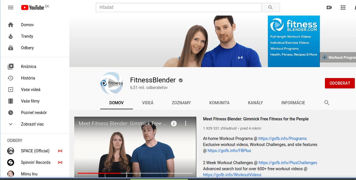 Fitness Blender - YouTube kanál