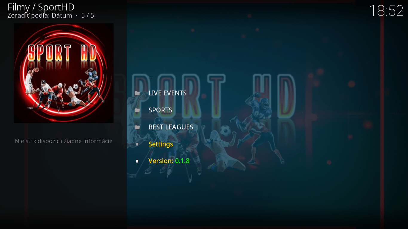 Sport HD - Hlavne menu